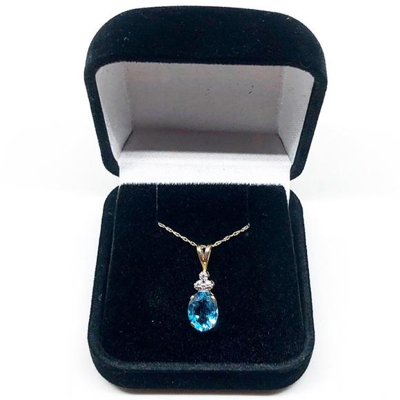 224ae4a42 Kay Jewelers Jewelry - 10k Yellow Gold Blue Topaz and Diamond Necklace